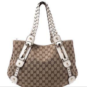 Gucci Medium Pelham Bag Canvas & White Leather